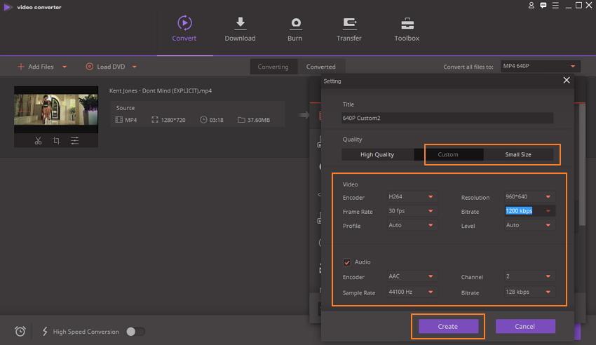 Personalice la configuración para reducir el tamaño del video