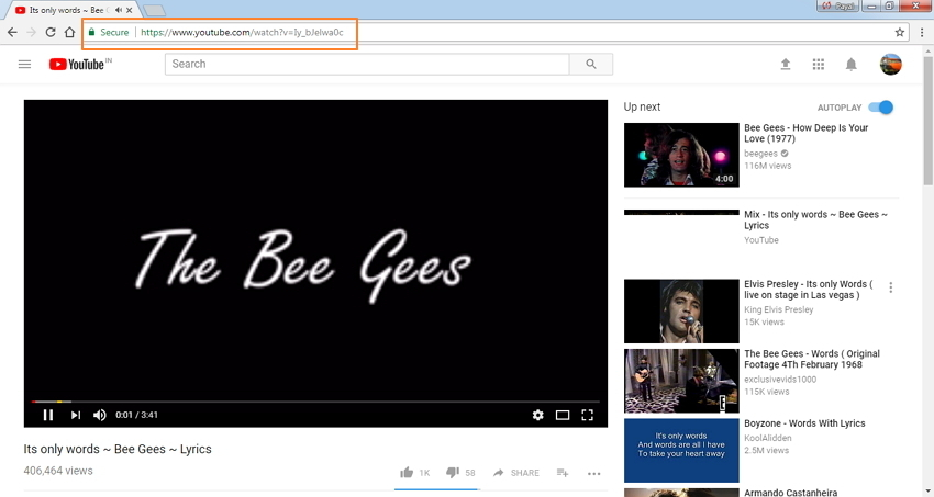 Copie la URL del video de YouTube