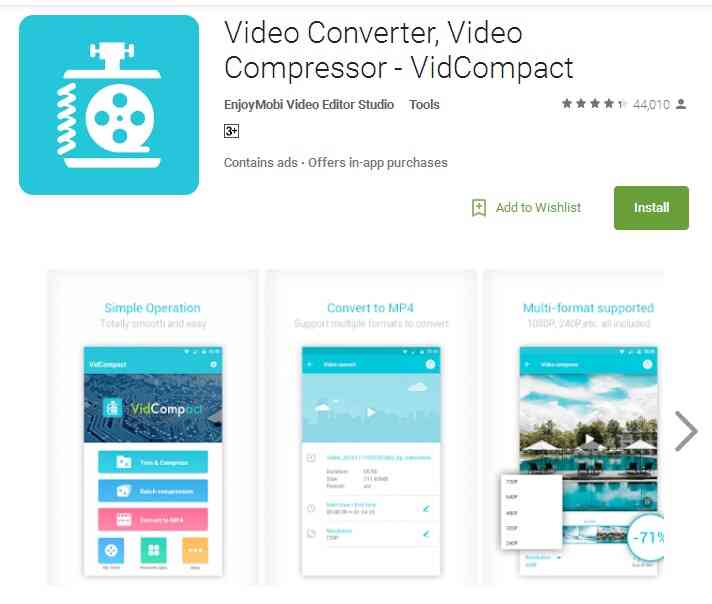 VidCompact - ridurre dimensioni video su android