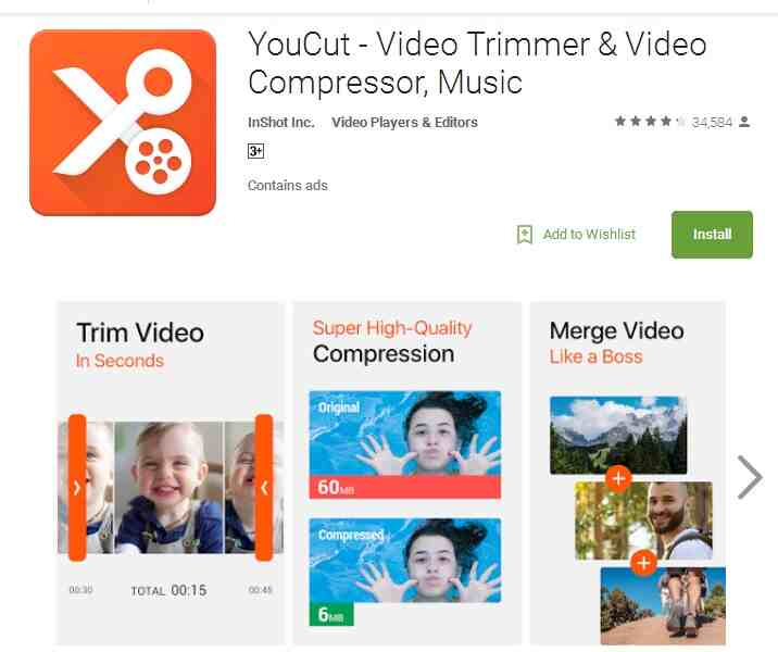 YouCut - ridurre dimensioni video su android