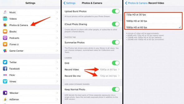 reduce iPhone Camera Resolution from Settings