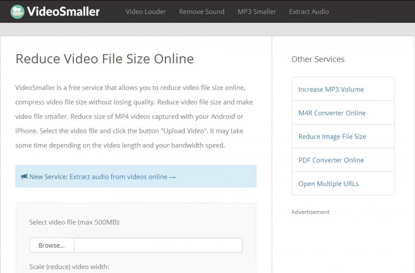 VideoSmaller - online video compressor