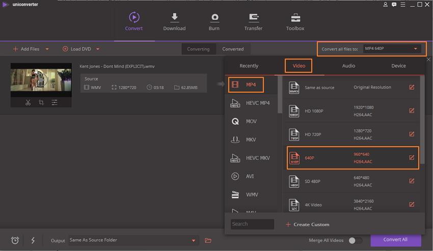 Cambiar el formato de archivo para reducir el tamaño del video