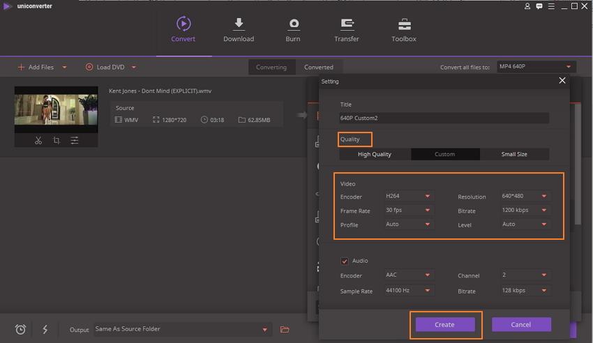 Editar parâmetros na janela de configurações