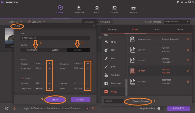 Personalize os parâmetros de vídeo para compactação