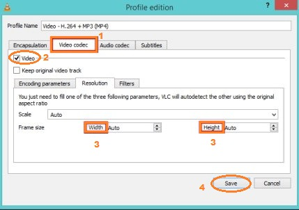 use VLC resize video by changing frame rate, bit rate