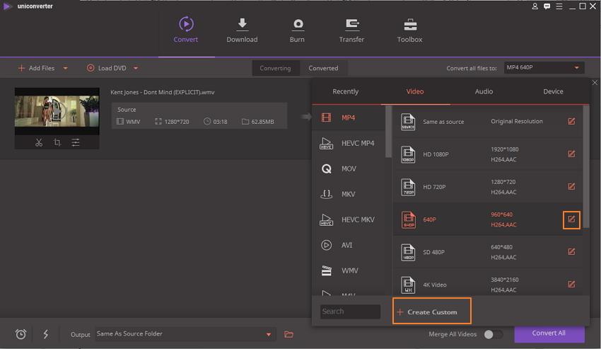 clique no ícone de edição para entrar na janela de configurações