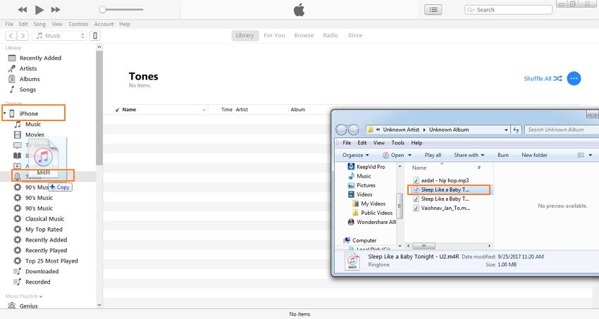 convertir mp3 en sonnerie iphone avec itunes-synchroniser .m4r à iphone