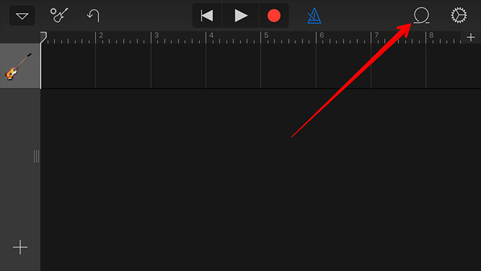 trasferisci un mp3 in iphone con garageband-clicca l'icona del browser loop