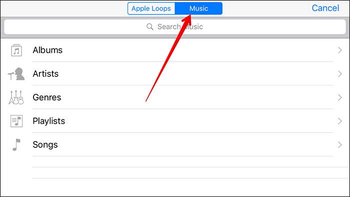 transférer mp3 à l'iphone avec garageband-aperçu de la liste des chansons