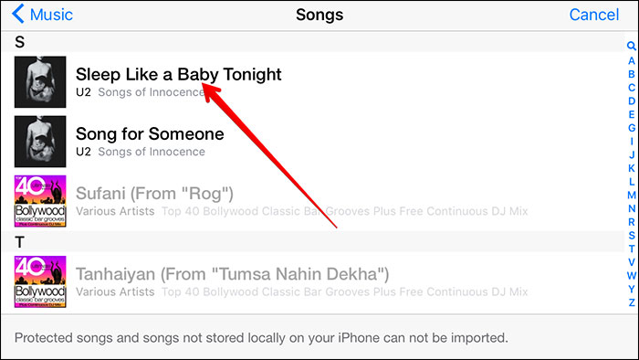 turn mp3 to iphone with garageband-select desired song