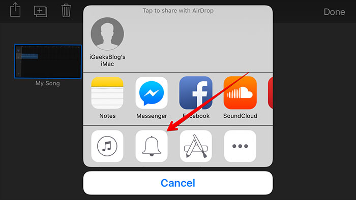 turn mp3 to iphone with garageband-share created ringtone