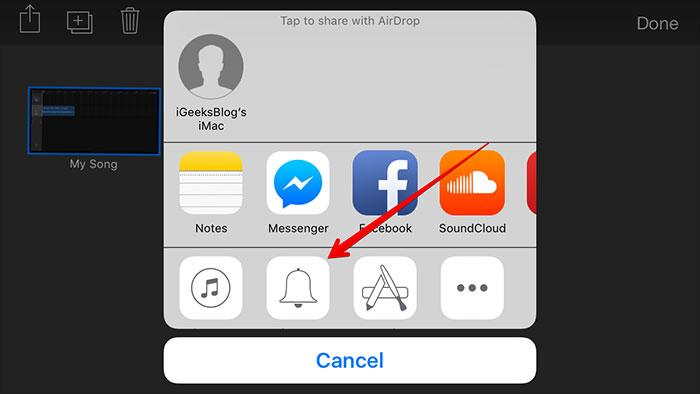 convertir mp3 a tono de llamada iphone con garageband-compartir tono de llamada creado
