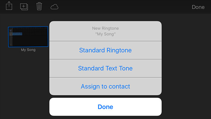 turn mp3 to iphone with garageband-select ringtone options