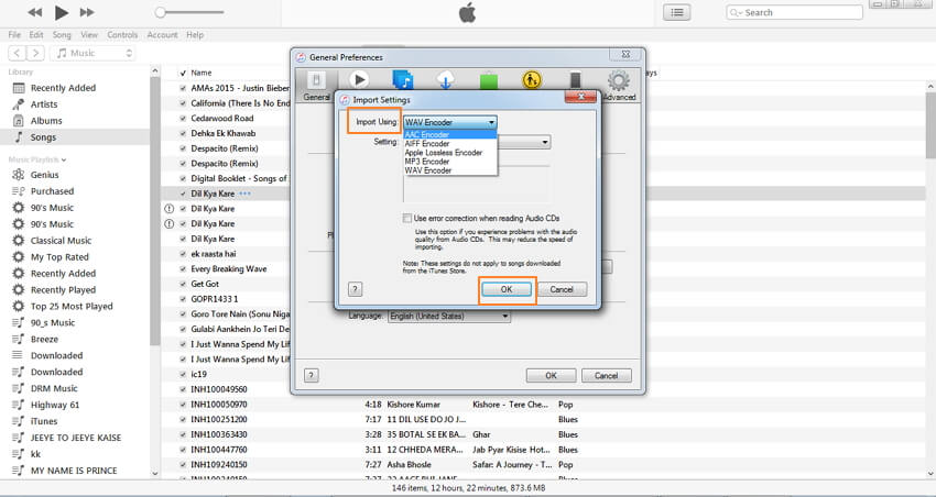 converti mp3 in wmv con itunes-seleziona wav encoder