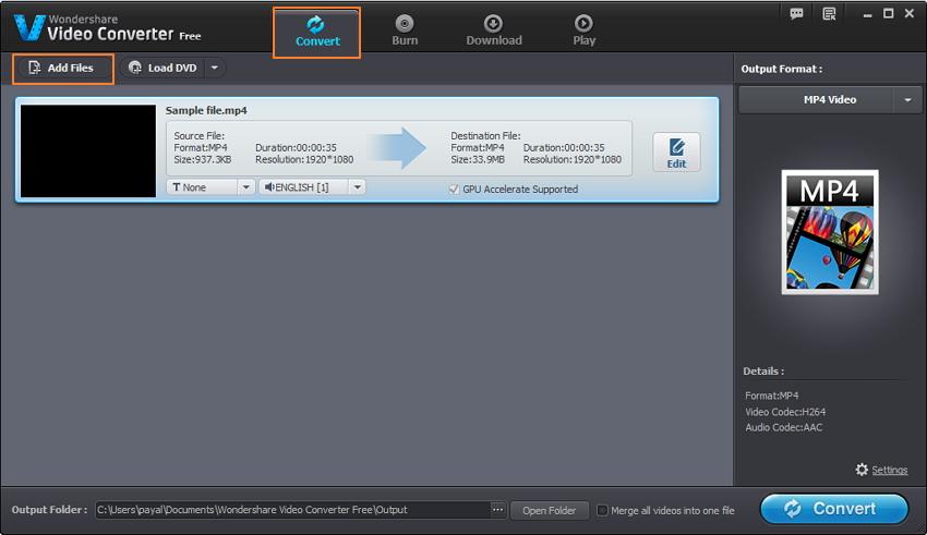 öffnen Video Converter Free und MP4 video hinzufügen