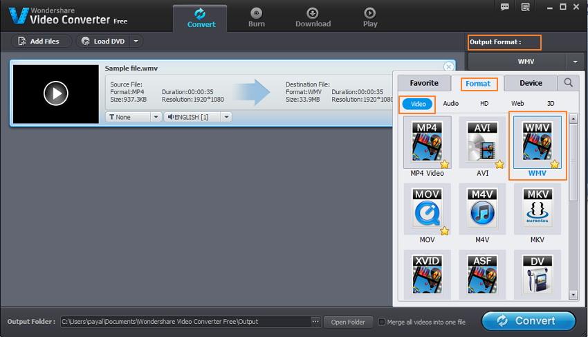 WMV als output format wählen