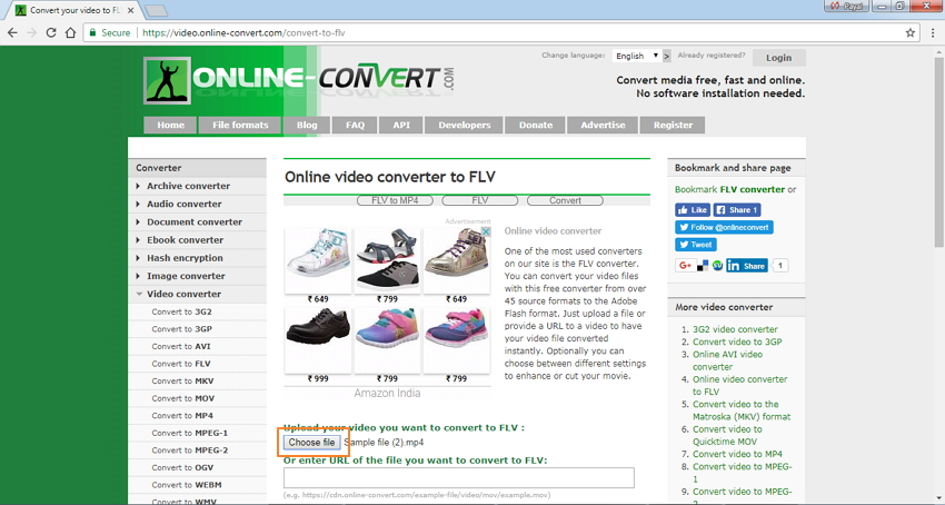 open Online Convert and add MP4 files