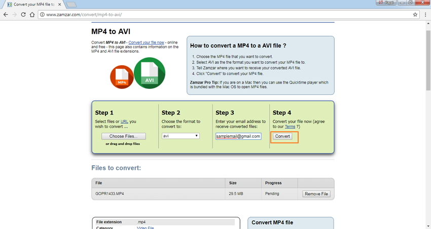 start converting MP4 to AVI