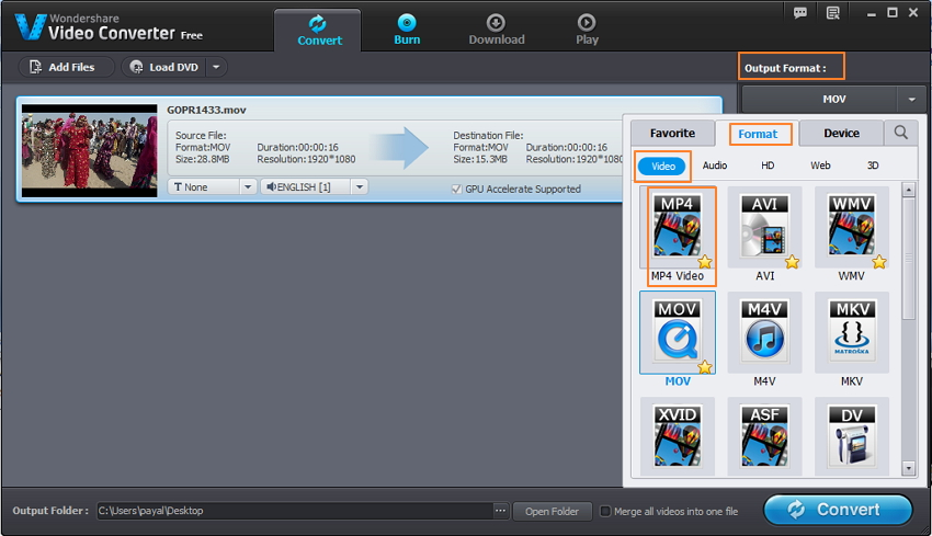 Select MP4 as output format