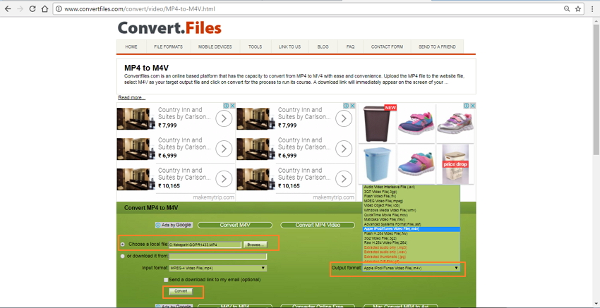 convert MP4 to M4V using Convert Files