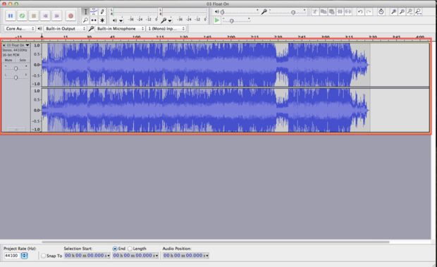 togliere voce da mp3 - importa canzone in audacity