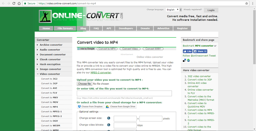convert wmv to mp4 free online with Online Convert