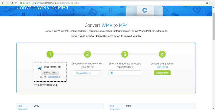 convert wmv to mp4 online with Zamzar