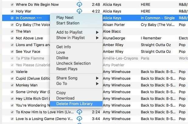 supprimer les chansons en double clics