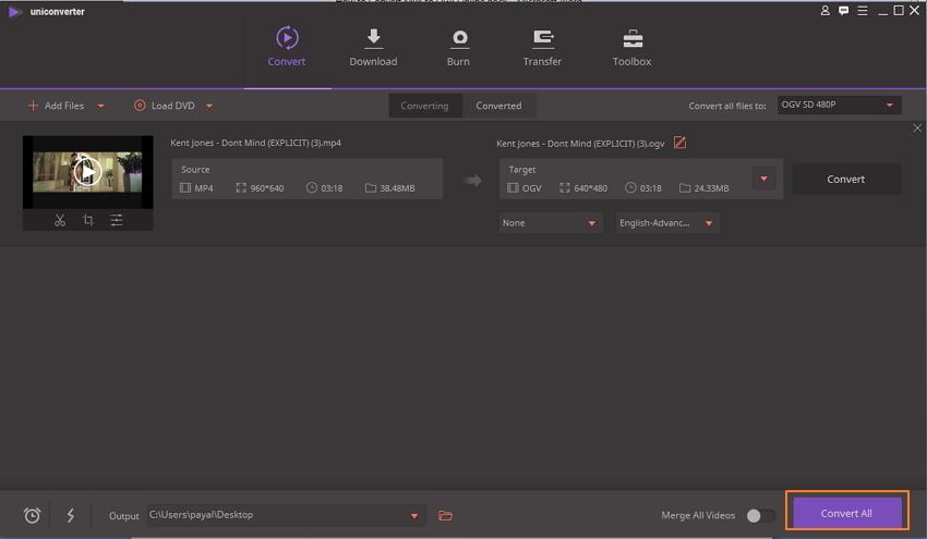 Konvertierung von MP4 in OGV starten