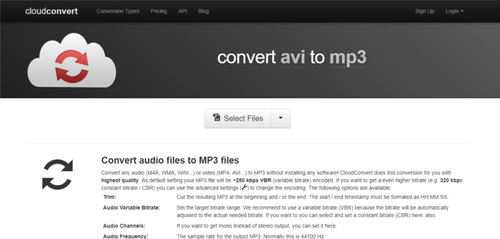 convertisseur avi en mp3 en ligne-cloudconvert
