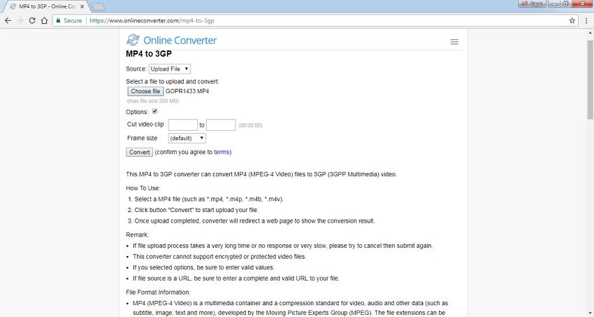 Online Converteren voor 3GP-conversie