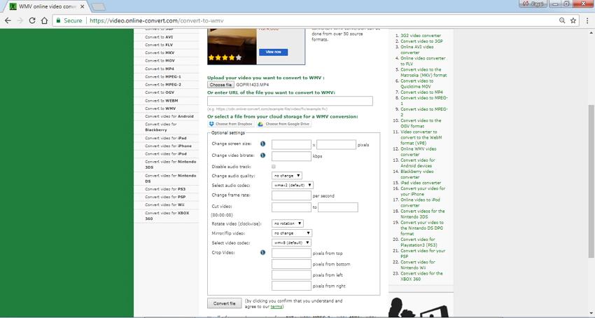 Convertidor MP4 a WMV en Linea Online Convert