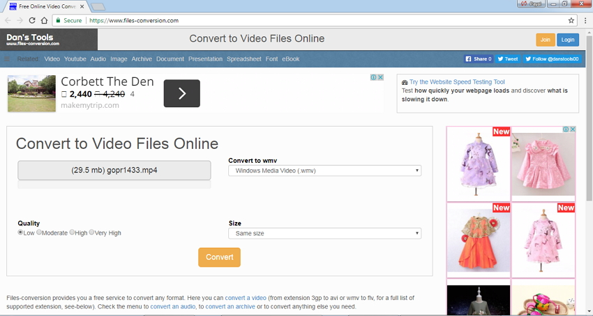 Convertisseur en ligne MP4 vers WMV Files Conversion