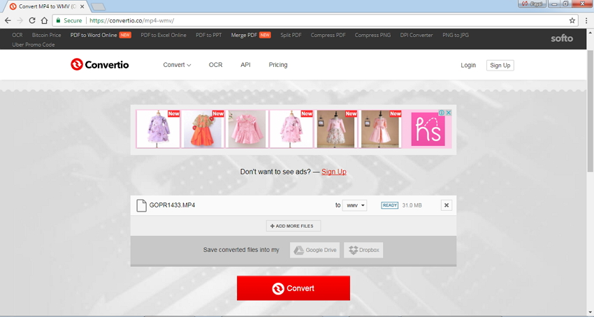 online WMV-Konverter Convertio