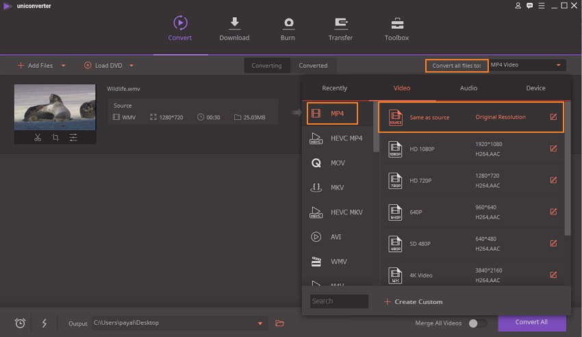 Seleziona MP4 come formato di output