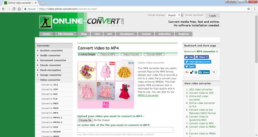 Codificador MP4 en Linea Online Convert