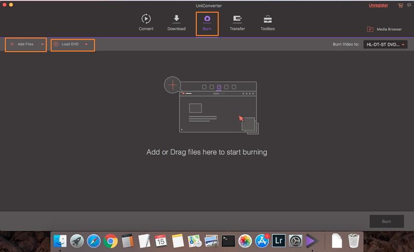 ajouter des fichiers au logiciel de création de DVD Wondershare Mac