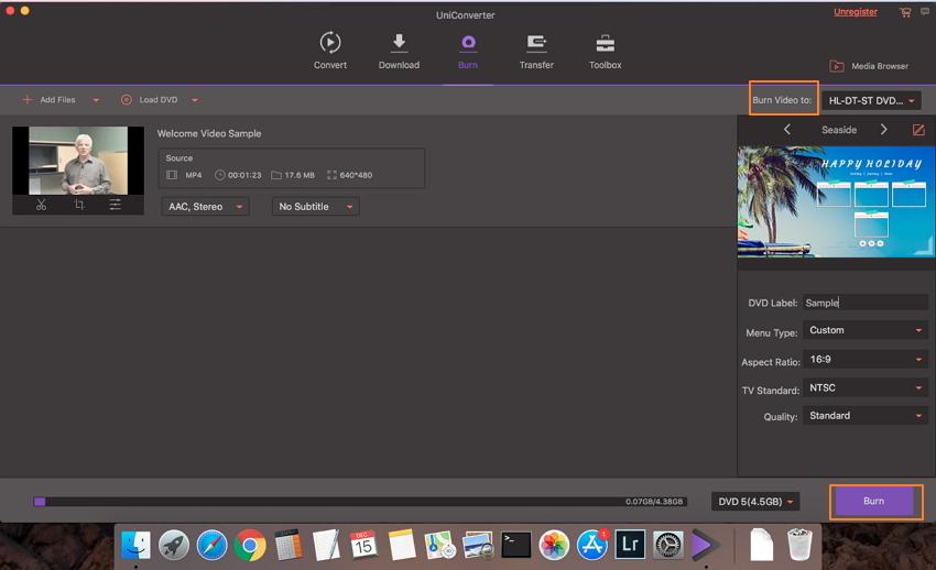 Lancer le processus de gravure avec le logiciel de création de DVD