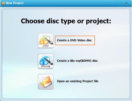 Wondershare DVD Creator öffnen und Disc-Typ wählen