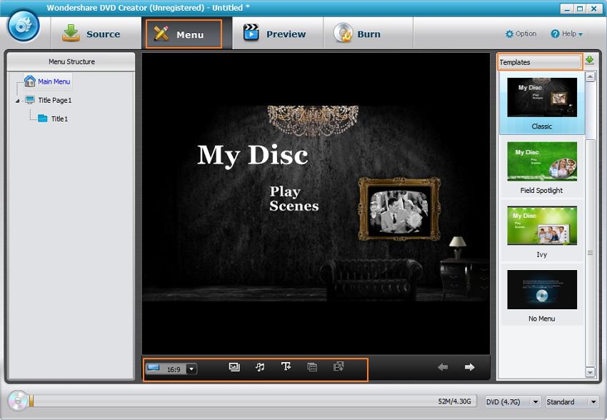 Personnalisez le modèle de DVD et le menu DVD