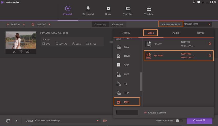 MPEG als Ausgabeformat wählen