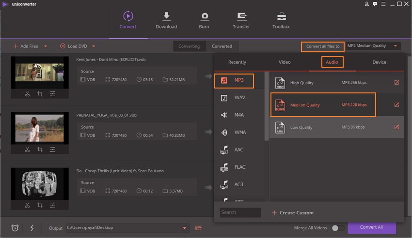 SWählen Sie MP3 als Ausgabeformat für die Konvertierung von VOB in MP3