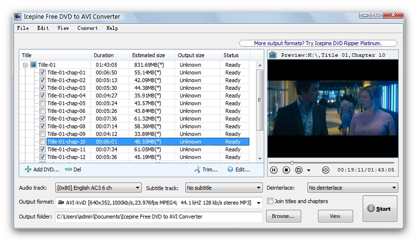 Icepine Free DVD to AVI Converter
