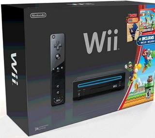 Console Wii noire avec nouveau Super Mario Brothers Wii et CD de musique