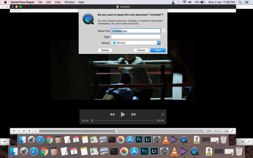 Aufgenommene Videodatei auf Mac speichern