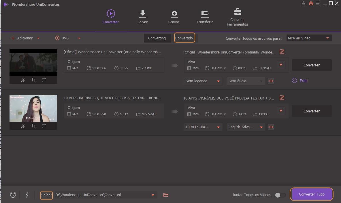Converta vídeos para HD MP4