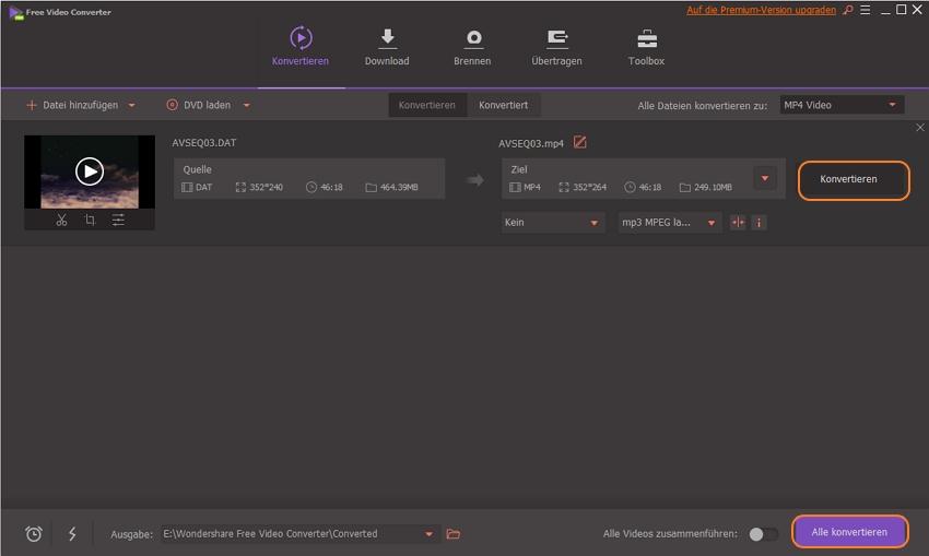 DAT zu MP4 kostenlos konvertieren