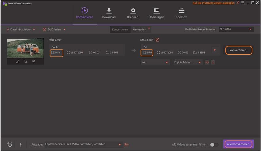MOV Video zu MP4 kostenlos konvertieren