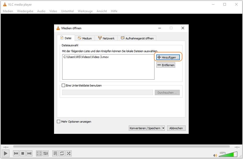 MOV Datei in VLC Media Player hinzufügen